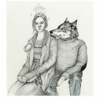 Wolf and Snow queen Giclee A4 print