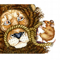 Lion and Mouse Aesop Fable illustration A4 giclee print