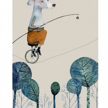Dog Print A4 giclee Albert the Trick Cyclist illustration