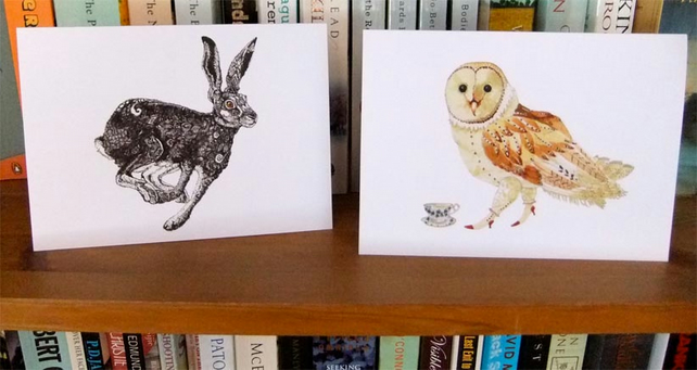 Hare and Owl blank greeting cards 4x6