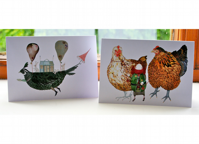 Bird Greeting cards Pair of cards with Partridge Ship and Two Chickens with Ed