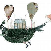 Partridge with Rabbits Hot Air Balloon A4 print