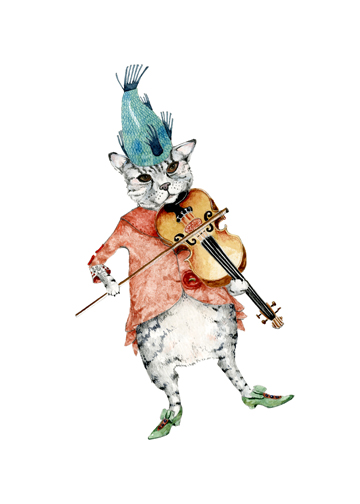 Cat and a Fiddle A4 Giclee print