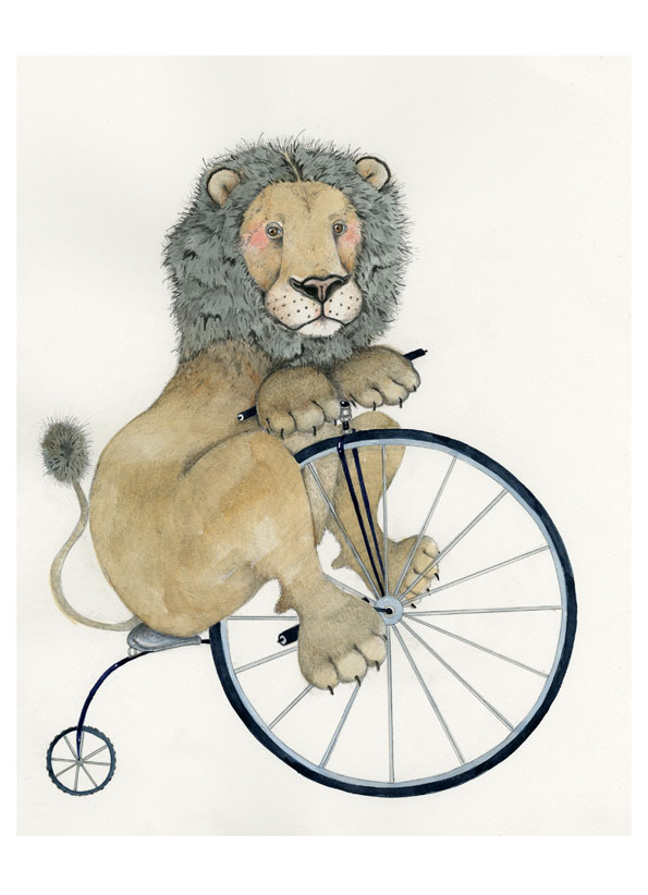 Lion on a Penny Farthing illustration A4 Giclee Print