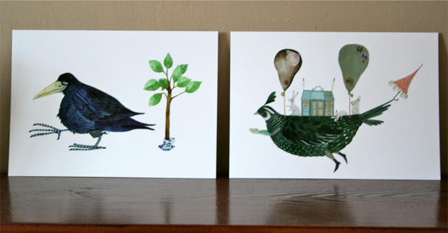Postcards Bird postcards set of two glossy postcards 4x6