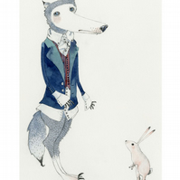 Wolf and Bunny A4 Giclee print illustration