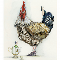 Cockerel with teapot Giclee print A4