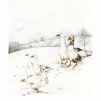 Goose bird print Geese in landscape A4 illustration print