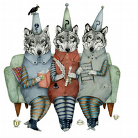 Wolf illustration Giclee print Wolves in thinking caps A4