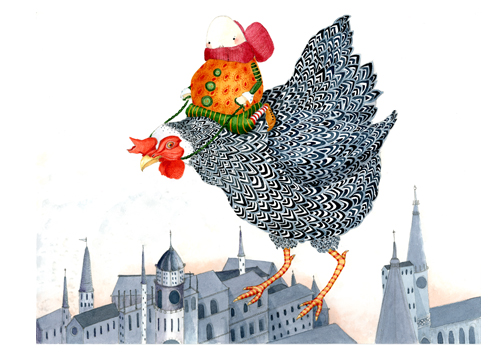 Flying Chicken Print A4 Giclee Chicken art