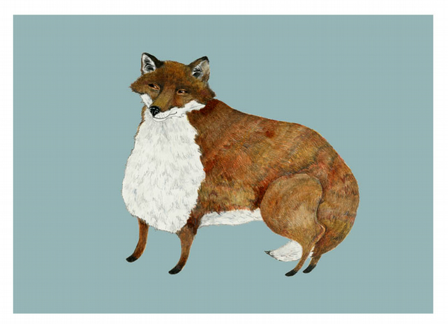 Fox Illustration print Fat Fox A4 Giclee Print