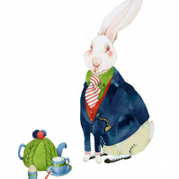 White Rabbit has Tea Giclee A4 print