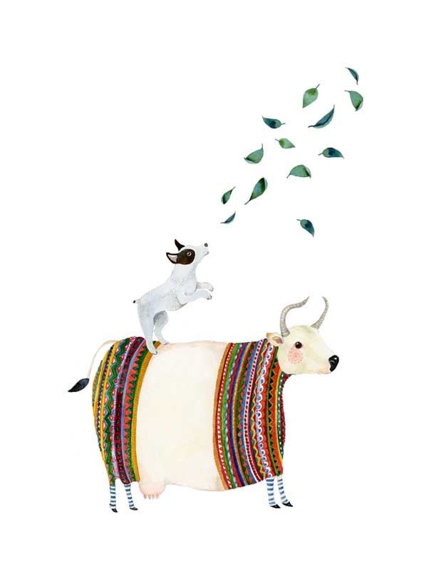 Dog print Dog and Cow in knitwear A4 Giclee illustration print