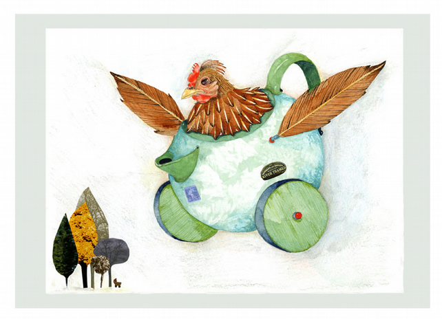 Print of Chicken in Flying Teapot A4 Giclee illustration print