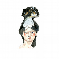 Sheep Dog Hat Print A4 girl with Dog Hat giclee print