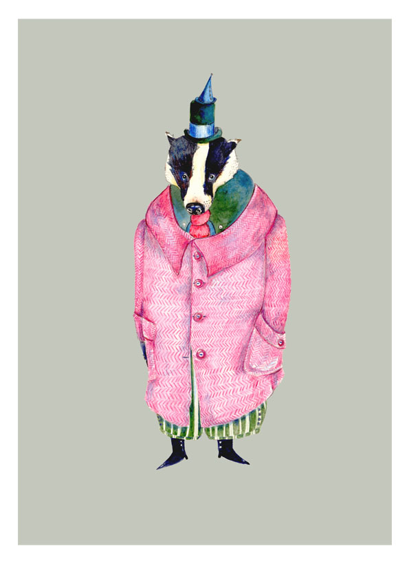 Badger Print Badger in a pink Coat Giclee A4 print