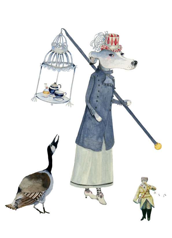 Dog and Goose Tea Time Parade A4 Giclee print