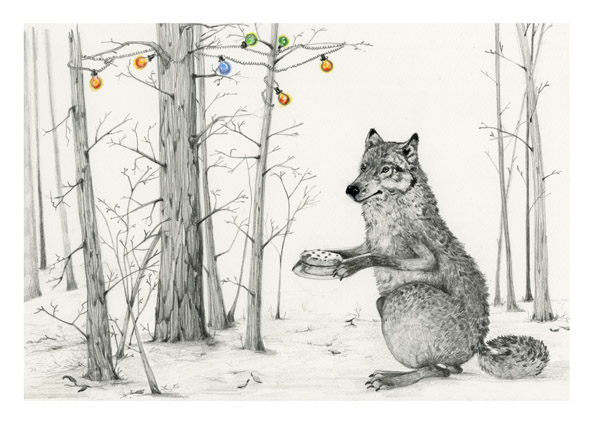 Wolf with a cake in woods A4 Giclee print