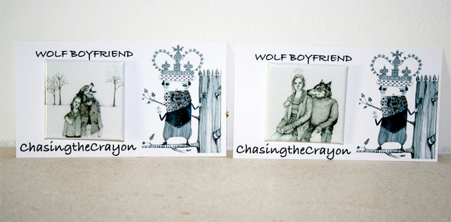 Wolf badges 38 mm square pin badges wolf boyfriend and snow queen