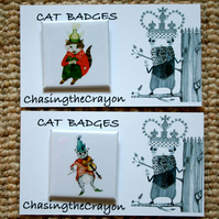 Cat Badges Pair of 38 mm square Cat badges