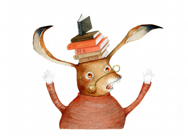 Print Hare with books on head illustration A4 Giclee Print
