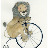 Lion on a Penny Farthing illustration A3 Giclee Print