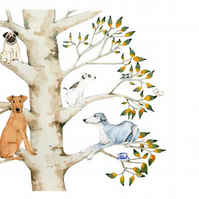 Dogs in a tree with Teacups A4 Giclee print
