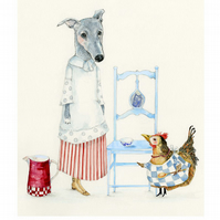 Dog and Chicken kitchen maids A4 Giclee print
