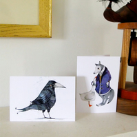 Cards Greeting 4x6 cards with Raven and Wolf illustrations