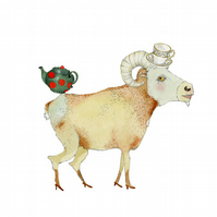 Ram in Teacup Hat A4 giclee print
