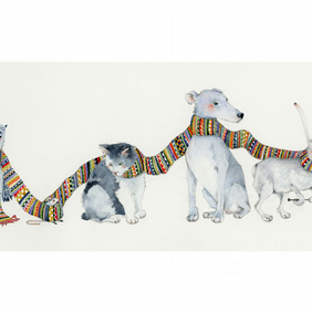 Print Dog, Cat, Mouse, Owl and Hare in knitted Scarf A4