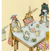 Animal character tea party print A4