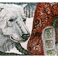 Print of Polar Bear pen and ink A4 print