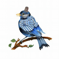 Bluebird art print A4 Bluebird in silver thimble hat