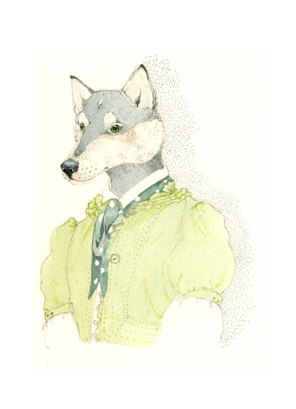 Husky Dog print A4 Dog in a Green Frock