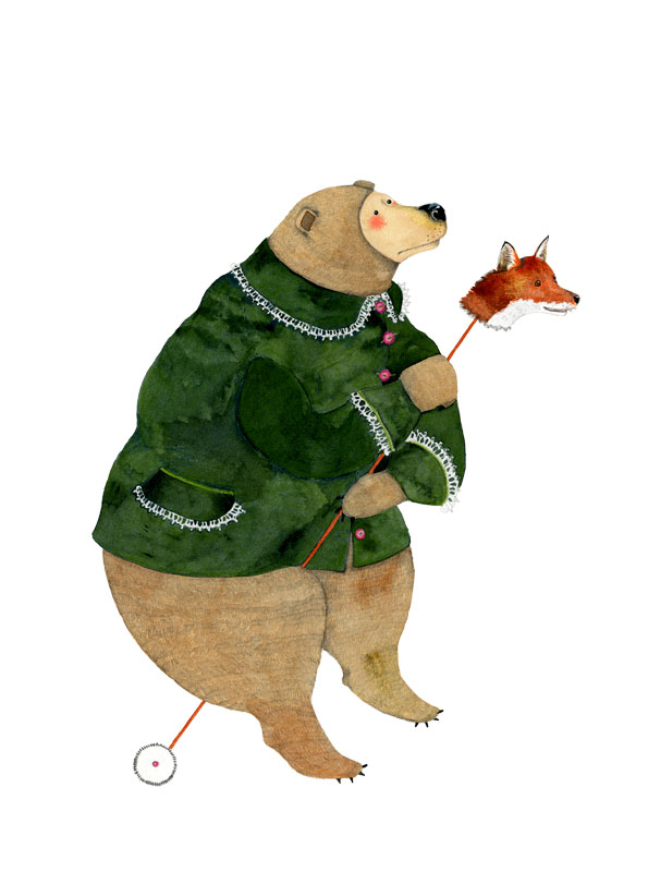 Bear in Green Jacket A4 Giclee Print art print