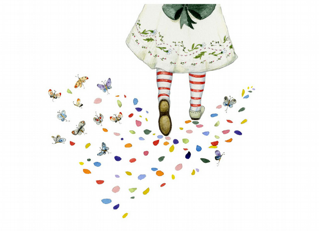 Bufferfly and Petal Footprints A4 print Giclee print