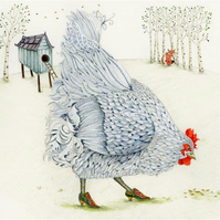 Hen in fancy shoes Giclee print A4