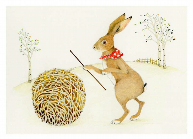 A Hare with Tumbleweed Giclee A4 Print