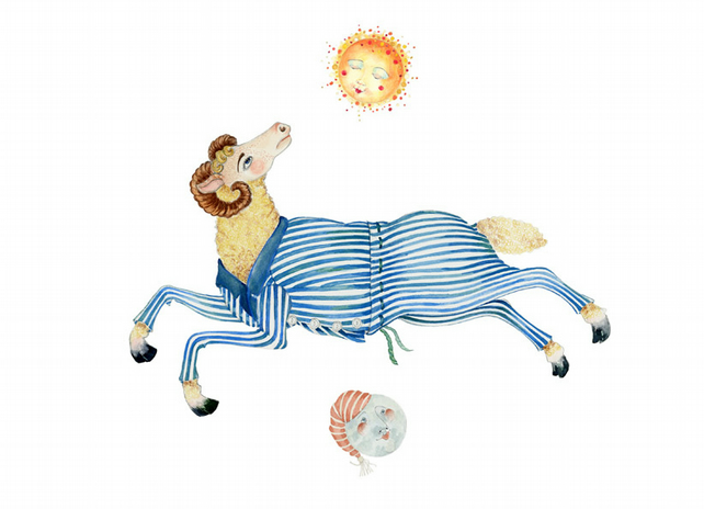 Ram in Pyjamas with Sun and Moon giclee A4 print