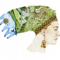 Summer Dreaming Profile of woman with summer Headdress A4 Giclee print