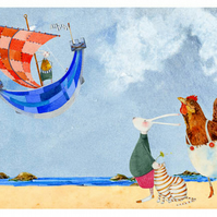 Bunny and friends on beach Giclee A4 print