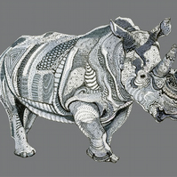 Rhino decorative print pen and Ink A4 Giclee Print