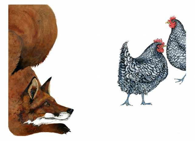 Fox and Two Hens A4 Giclee Print