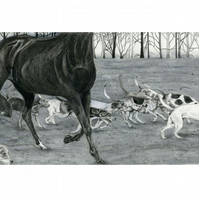 Pencil Drawing of Horse and Hounds Original artwork