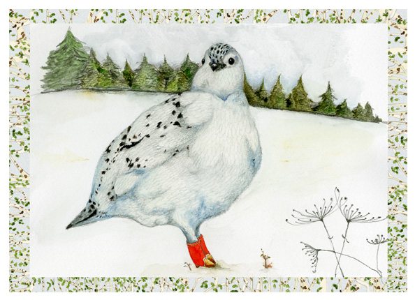 Bird Print A4 Giclee Ptarmigan Bird in Winter landscape 8x11