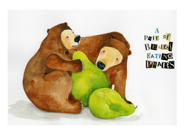 Bears eating Pears A4 Giclee print 8x11 illustration art print