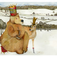 Bear King and Deer Queen Print A4 Giclee illustration print