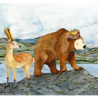 King Bear and Queen Deer with Hare A4 Giclee print