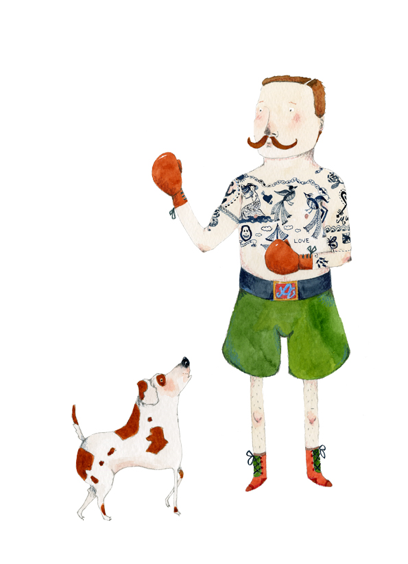 Tattooed Man and his Dog A4 Giclee art print